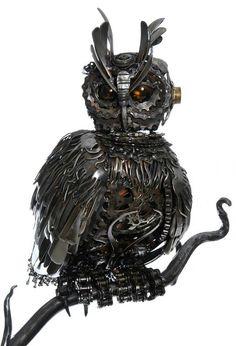 Steampunk owl ~ Made from cutlery! #Steampunk #Owl