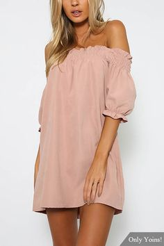 Mini-robe Off-The-Shoulder en rose