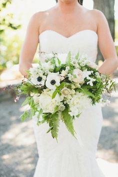 white wedding bouquet with anemones and ferns