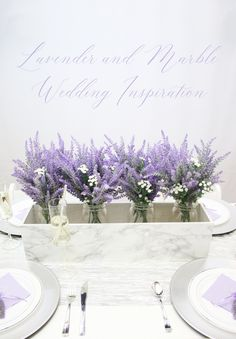 Marble and Lavender Wedding Inspiration featuring Oriental Trading Company products! Lavender Wedding Centerpieces, Homemade Wedding Decorations, Hanging Wedding Decorations, Summer Centerpieces, Wedding Flowers, Table Decorations, Wedding Stuff, Diy Wedding Inspiration, Creative Wedding Ideas