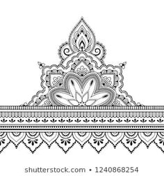 Similar Images, Stock Photos & Vectors of Seamless borders with mandala for design, application of henna, Mehndi and tattoo. Decorative pattern in ethnic oriental style. Tatoo Henna, Mandala Arm Tattoo, Hand Tattoo, Mandala Drawing, Mandala Art, Henna Mandala, Mandala Design, Mandala Pattern, Motif Oriental