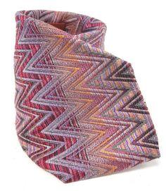 MISSONI CRAVATTE ORANGE LABEL Men's Pink Orange Purple Chevron Silk Neck Tie at www.ShopLindasStuff.com