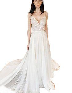 568862e312d Women s Beach Wedding Dress A Line Beaded Chiffon Bridal Gown WD015 Woman  Beach
