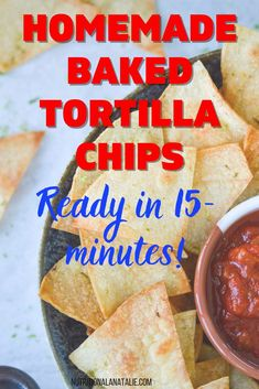 Homemade baked lime corn tortilla chips. Ready in less than 20-minutes!