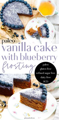 Paleo Vanilla Almond Cake with Dairy Free Blueberry Frosting Paleo Dessert, Healthy Dessert Recipes, Healthy Treats, Real Food Recipes, Easy Recipes, Diet Recipes, Easy No Bake Desserts, Summer Desserts, Blueberry Frosting