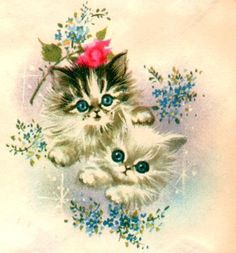 Kitty Cats Vintage Scraps for Crafts by PaperPrizes on Etsy