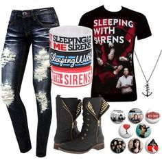 band outfits polyvore sleeping with sirens - Google Search