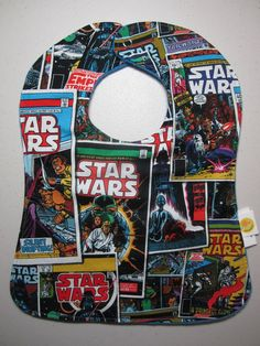 Marvel Star Wars Comics Baby Bib - Darth Vader - Luke Skywalker - Jedi - Snap Baby Bib - Royal Blue Antipill Fleece. $10.00, via Etsy.