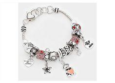 "BRIGHTON BAY Pandora Glass ""You are my sunshine"" Multi Beaded Mom & Heart Teddy Bear Charm Bracelet"