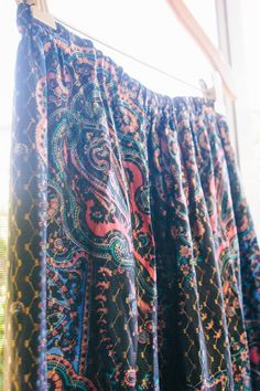 Vintage Black and Pink Paisley Maxi Skirt with Gold Embroidery, Elastic Waist