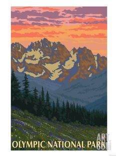 Spring Flowers, Olympic National Park Print at Art.com