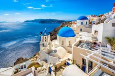 Santorini, Greece is one of the most relaxing and beautiful places to take a vacation. The signature blue dome buildings are famous and easily recognizable. Oia Santorini is truly a masterpiece. Greek Islands To Visit, Best Greek Islands, Greece Islands, Greece Tours, Greece Travel, Greece Vacation, Vacation Spots, Places To Travel, Places To See