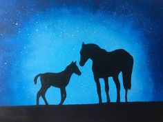 Horse Painting Silhouette Stars Night Handmade on Canvas