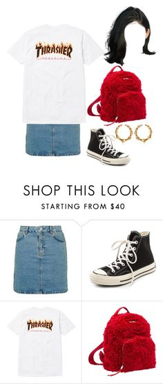 """""""At the Jack Ü concert in LV with Asia"""" by nytown ❤ liked on Polyvore featuring Topshop, Converse, Miu Miu and Balmain"""