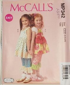 McCall's Pattern M6877 MP342 Girls' top, Dress and Pants sizes 2-5 FREE SHIPPING