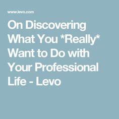 On Discovering What You *Really* Want to Do with Your Professional Life - Levo