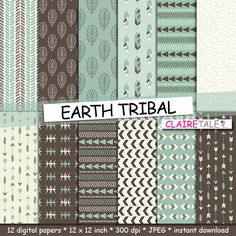 "Buy Tribal digital paper: ""EARTH TRIBAL"" with tribal patterns and tribal backgrounds, arrows, feathers, leaves, chevrons in earth colours by clairetale. Explore more products on http://clairetale.etsy.com"