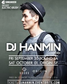10/1 SAT SF - We pop pop bbassae w/ DJ Hanmin tonight @ Origin San Fran! Get free entry here & join us www.djhanmin.eventbrite.com