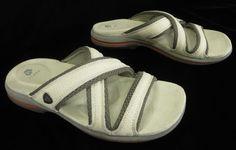 Acorn 7 Ivory Cream Leather Cross Strap Square Toe Slide Wedge Sandals #Acorn #Slides #Casual