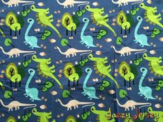 Dinosaurs and trees cotton jersey fabric by JazzyJerseyUK on Etsy