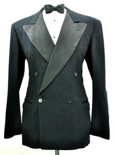 Vtg 1930's Bespoke Navy Blue Flannel Tuxedo Jacket 38R Small DB Formal Blazer | eBay