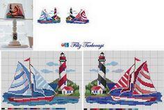 Yachts and lighthouse free cross stitch patterns