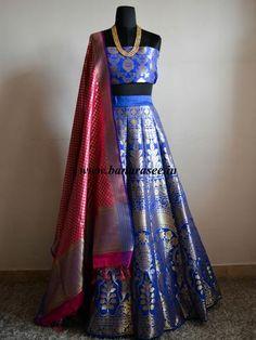 Banarasee/Banarasi Handwoven Art Silk Unstitched Lehenga & Blouse Fabric-Royal Blue