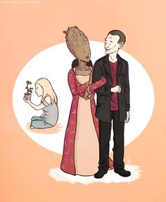 Haha! Animated Ninth Doctor with tree lady and Rose.