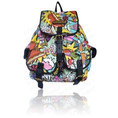 celebrity comic graffiti print clothes   Harlequin Check Graffiti Comic Owl Print School Rucksuck Backpack ...
