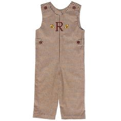Our Rags Land Team Spirit Monogrammed Brown Checks Longall! Shop NOW at www.ragsland.com