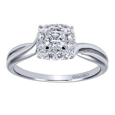 14kt White Gold Contemporary Halo Engagement Ring by Gabriel NY; available at Stambaugh Jewelers.