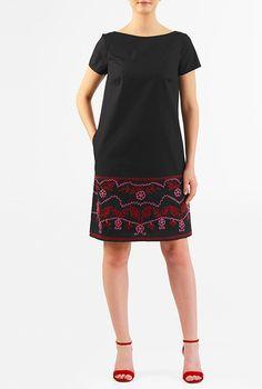I <3 this Embellished cotton poplin shift dress from eShakti