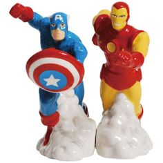 Westland Giftware #Marvel Magnetic Ceramic Salt and Pepper Shaker Set: Captain America and Iron Man