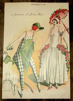 1920s French Print -- La Jardinere Le Jardin Fleuri