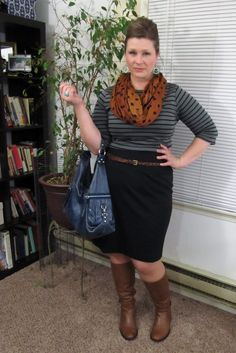 Stripes, grey, black, brown, scarf, pencil skirt, boots