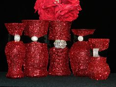 Wedding Centerpiece, Wedding Decorations, Wedding Reception Decor, Red, Christmas Party, Xmas Party, New Years Eve Party, Corporate, Black. $39.00, via Etsy.
