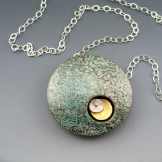 Sun, Moon, Stars  - polymer clay pendant on sterling silver chain by Stonehouse Studio