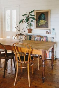 Rustic / vintage dining table in a super relaxed, boho cottage in Australia