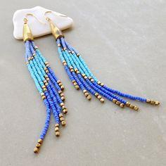 Beaded Earrings, Seed Bead Earrings, Gold Fill Ear Wire, Brass Bullet Cone Bead