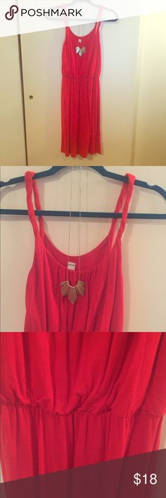 OLD NAVY - Red Dress 100% Rayon material. Very soft material. Great condition, elastic band cinches above waist for a more fitted look. Old Navy Dresses Midi