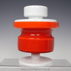 Alsterfors red & white pedestal glass trinket box by Per-Olof Ström
