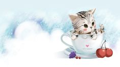 hand-painted background cat coffee mugs, Childlike, Kitty, Mug, Background image 4 Wallpaper, Drawing Wallpaper, Cartoon Wallpaper, Wallpaper Backgrounds, Cute Kitten Gif, Kittens Cutest, Cute Cats, Banners, Cat Background