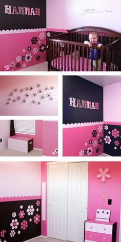 Pink and Brown Girl Room! SO CUTE!!! Purple and green