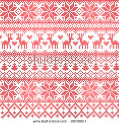 stock vector : Vector illustrated traditional red nordic pattern
