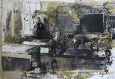 "Daniel Pitin - ""White Ribbon"", mixed media on canvas, X in, 169 x 240 cm Figurative Kunst, Matte Painting, Mixed Media Canvas, Art Portfolio, Figure Painting, Contemporary Paintings, Dark Art, Art Blog, Painting Inspiration"