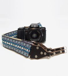 This. Is. Awesome. :: Periwinkle Pattern Jacquard & Leather Camera Strap by Feedback Straps