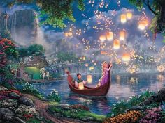 """Did you know that """"Tangled"""" is Disney's animated full length movie? It is also one of the Thomas Kinkade Studios fan favorites! This week we are releasing a new Thomas Kinkade Studios painting based on another popular Disney movie. Can you guess what Thomas Kinkade Disney Paintings, Poster Prints, Kinkade Paintings, Disney Wallpaper, Disney Art, Pictures, Fairy Tales, Thomas Kinkade Disney, Disney Animation"""