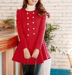 Echo likes!   Women's Woolen Long Jacket Cape Coat Red Wool by dresstore2000