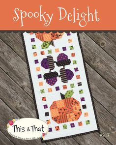 Spooky Delight Table Runner Pattern By Sherri by SewModDesigns Thanksgiving Table Runner, Halloween Table Runners, Table Runner And Placemats, Table Runner Pattern, Quilted Table Runners, Fall Table, Halloween Quilt Patterns, Mini Quilt Patterns, Halloween Quilts