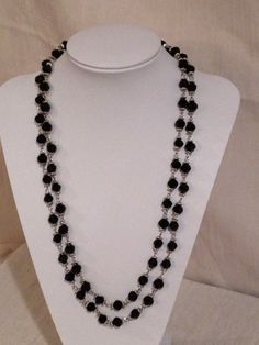 60 inch glass crystal necklace, black